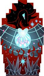 Size: 5000x8605   Tagged: safe, artist:phantombadger, king sombra, twilight sparkle, pony, umbrum, unicorn, crystal, duo, falling, female, male, mare, simple background, stained glass, stallion, transparent background, unicorn twilight