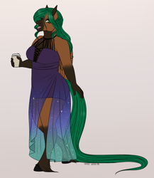 Size: 893x1028 | Tagged: safe, artist:caff, oc, anthro, pegasus, unguligrade anthro, ballgown, caff, caffeinehazard, clothes, coffee, dress, galaxy dress, long tail, valentines ball