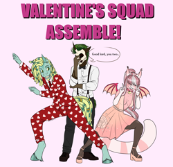 Size: 2445x2356 | Tagged: safe, artist:caff, oc, anthro, bat pony, earth pony, unguligrade anthro, unicorn, female, male, mare, multiple characters, polyamory, squad, stallion, valentines ball