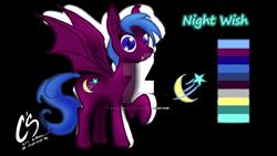Size: 1024x576   Tagged: safe, artist:johnathon-matthews, oc, oc:nightwish, bat pony, pony, commission, deviantart watermark, obtrusive watermark, reference sheet, solo, watermark