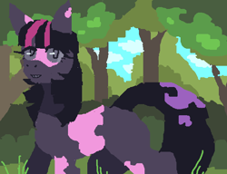 Size: 634x486 | Tagged: safe, artist:frudies, twilight sparkle, earth pony, pony, alternate hairstyle, female, grin, mare, missing cutie mark, missing horn, scenery, smiling, solo, tree