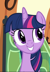 Size: 662x939 | Tagged: safe, screencap, twilight sparkle, alicorn, surf and/or turf, cropped, cute, smiling, solo, train, twiabetes, twilight sparkle (alicorn)