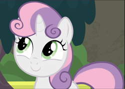 Size: 1326x941 | Tagged: safe, screencap, sweetie belle, surf and/or turf, cropped, cute, diasweetes, smiling, solo