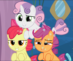 Size: 1127x942 | Tagged: safe, screencap, apple bloom, scootaloo, sweetie belle, seapony (g4), surf and/or turf, amused, best friends, bubble, cropped, cutie mark crusaders, female, filly, fin wings, foal, grin, hair bow, lidded eyes, raised eyebrow, sea-mcs, seaponified, seapony apple bloom, seapony scootaloo, seapony sweetie belle, smiling, smug, species swap, teasing, trio, underwater