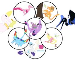 Size: 1500x1200 | Tagged: safe, artist:albertonykus, applejack, fluttershy, nightmare moon, pinkie pie, princess celestia, rainbow dash, rarity, spike, twilight sparkle, maniraptor, dinosaurified, mane seven, mane six, my little maniraptor, species swap