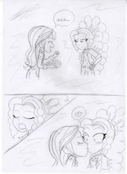 Size: 1280x1762 | Tagged: safe, artist:crock2121, adagio dazzle, sunset shimmer, human, equestria girls, blushing, chocolate, comic, duo, female, food, kissing, lesbian, shipping, sunsagio, surprise kiss, traditional art