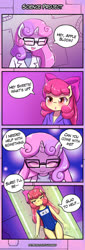 Size: 550x1622 | Tagged: safe, artist:lumineko, apple bloom, sweetie belle, anthro, earth pony, pony, unicorn, 4koma, apple bloomers, clothes, comic, one-piece swimsuit, science, sukumizu, swimsuit