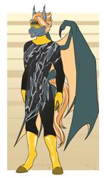 Size: 1165x1989   Tagged: safe, alternate version, artist:blackblood-queen, oc, oc:rocket burst, anthro, bat pony, unguligrade anthro, anthro oc, bat pony oc, commission, digital art, fangs, goggles, male, racing suit, slit eyes, smiling, solo, stallion