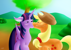 Size: 1920x1358 | Tagged: safe, artist:thebenalpha, applejack, twilight sparkle, alicorn, pony, female, kissing, lesbian, request, shipping, twijack, twilight sparkle (alicorn)