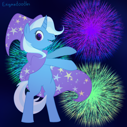 Size: 1000x1000   Tagged: safe, artist:enigmadoodles, trixie, pony, unicorn, bipedal, cape, clothes, fireworks, hat, smiling, solo, trixie's cape, trixie's hat