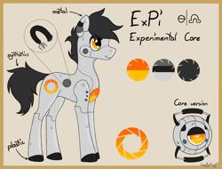Size: 2000x1521   Tagged: safe, artist:lambydwight, oc, oc:expi, earth pony, pony, robot, personality core, portal, reference sheet