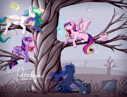 Size: 900x684 | Tagged: safe, artist:ochideyiku, princess cadance, princess celestia, princess luna, twilight sparkle, alicorn, pony, gamer luna, alicorn tetrarchy, banana, bananalestia, book, chest fluff, computer, crystal, food, glowing horn, horn, magic, prone, reading, rock, telekinesis, tree, tree branch, twilight sparkle (alicorn)