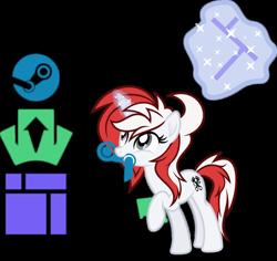 Size: 1280x1207 | Tagged: safe, artist:fuzzybrushy, oc, oc only, oc:stock piston, unicorn, logo, magic, magic aura, red hair, simple background, solo, transparent background, vector
