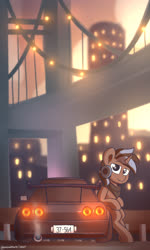 Size: 1924x3200   Tagged: safe, artist:perezadotarts, derpibooru exclusive, oc, oc only, pony, unicorn, afternoon, bridge, building, car, city, cloud, glow, light, looking at you, nissan, nissan gt-r, sky, smiling, solo, text, vehicle, wallpaper
