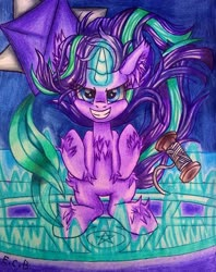 Size: 1280x1620   Tagged: safe, artist:estrellasombria, starlight glimmer, pony, unicorn, glowing horn, grin, horn, kite, magic, smiling, solo, traditional art, windswept mane