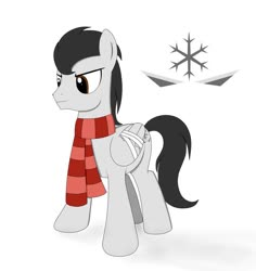 Size: 869x920 | Tagged: safe, artist:blazeburn386, oc, oc only, oc:snowblade, pegasus, bandage, clothes, cutie mark, damaged, digital art, male, paint tool sai, scarf, simple background, smiling, snow, solo, stallion, standing, white background, wings, winter, winter outfit