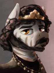 Size: 1024x1379 | Tagged: safe, artist:dukevonkessel, zebra, equestria at war mod, beard, bust, facial hair, jewelry, king, male, moustache, portrait, regalia, solo