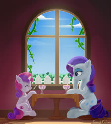 Size: 1800x2000 | Tagged: safe, artist:emeraldgalaxy, rarity, sweetie belle, pony, unicorn, cute, diasweetes, digital art, female, filly, food, ice cream, mare, raribetes, siblings, sisters, smiling, window