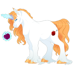 Size: 3000x2700 | Tagged: safe, artist:gigason, oc, oc:william apple, pony, unicorn, apple, food, high res, magic, male, parent:big macintosh, parent:prince blueblood, parents:bluemac, simple background, solo, stallion, transparent background