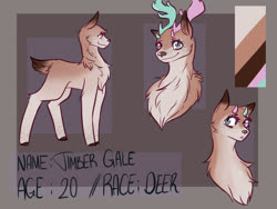 Size: 2000x1500 | Tagged: safe, artist:stupidorangenoodle, oc, oc only, oc:timber gale, deer, antlers, barely pony related, deer oc, femboy, male, multicolored antlers, multicolored eyes, reference sheet, short tail