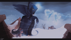Size: 1366x768 | Tagged: safe, artist:orfartina, princess luna, snowfall frost, spirit of hearth's warming yet to come, starlight glimmer, alicorn, pony, unicorn, a hearth's warming tail, female, luna's future, mare, scene interpretation, snow, snowfall