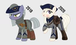Size: 1024x615   Tagged: safe, artist:brony-works, limestone pie, earth pony, pony, art evolution, clothes, female, hoof boots, mare, sweden, tricorn hat, uniform