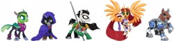 Size: 2422x586 | Tagged: safe, artist:house-of-tykayl, editor:thomasfan45, alicorn, changedling, changeling, cyborg, earth pony, pony, unicorn, beanbrows, beast boy, boots, cape, changelingified, clothes, costume, crossover, cyborg (teen titans), eyebrows, female, flying, hood, looking at you, male, mare, mask, open mouth, ponified, raven (teen titans), robin, shoes, simple background, species swap, staff, stallion, starfire, superhero, teen titans, transparent background, uniform