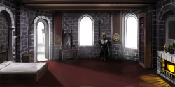 Size: 6000x3000 | Tagged: safe, artist:nsilverdraws, armor, axe, background, bed, bedroom, bookshelf, castle, fireplace, mirror, weapon