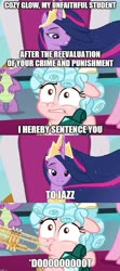 Size: 747x1689 | Tagged: safe, edit, edited screencap, screencap, cozy glow, twilight sparkle, alicorn, the ending of the end, the last problem, spoiler:s09e24, spoiler:s09e26, asdfmovie, cozy glow's sentence, meme, musical instrument, princess twilight 2.0, text, trumpet, twilight sparkle (alicorn)