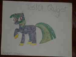 Size: 400x300 | Tagged: safe, artist:bigtimelatiaslover35, oc, oc only, oc:tesla gadget, pony, unicorn, drawing, photo, solo, traditional art