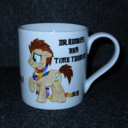 Size: 1024x1024 | Tagged: safe, artist:malte279, doctor whooves, time turner, collage, craft, cup, porcelain, porcelain painting