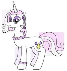 Size: 1911x2015 | Tagged: safe, artist:supahdonarudo, fleur-de-lis, unicorn, bracelet, ear piercing, earring, jewelry, necklace, older, older fleur-de-lis, pearl necklace, piercing, simple background, transparent background