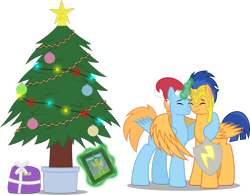 Size: 2769x2165 | Tagged: safe, artist:chrzanek97, flash sentry, oc, oc:harmony star, alicorn, alicorn oc, christmas, christmas tree, duo, hat, holiday, hug, present, santa hat, shield, simple background, transparent background, tree, winghug