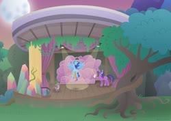 Size: 1280x906 | Tagged: safe, artist:lavenderrain24, princess luna, spike, twilight sparkle, oc, oc:harmony star, oc:prince harmony, alicorn, dragon, pony, horse play, alicorn oc, clothes, costume, dressing up, dressup, moon, nightmare moon costume, spotlight, stage, tree, twilight sparkle (alicorn)