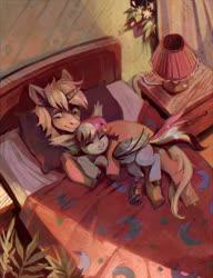 Size: 1820x2373 | Tagged: safe, artist:dearmary, oc, oc only, bat pony, pony, unicorn, bed, cuddling, lamp, pillow