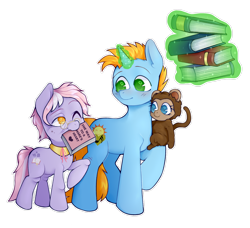 Size: 1280x1165 | Tagged: safe, artist:occultusion, dusty pages, oc, oc:harmony star, oc:lolly, alicorn, monkey, the point of no return, spoiler:s09e05, alicorn oc, book, levitation, magic, mouth hold, no pupils, one eye closed, pet oc, simple background, telekinesis, transparent background, wingless, wink