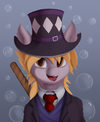 Size: 1173x1430 | Tagged: safe, artist:batsdisaster, derpy hooves, earth pony, pony, bubble, clothes, crossover, hat, jojo's bizarre adventure, necktie, ponified, robert eo speedwagon, scar, smiling, solo, speedwagon, suit, top hat
