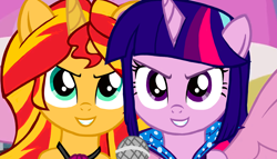 Size: 1400x800 | Tagged: safe, artist:katya, edit, editor:katya, sunset shimmer, twilight sparkle, alicorn, pony, equestria girls, rainbow rocks, clothes, dress, ponified, singing, twilight sparkle (alicorn)