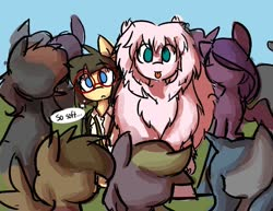 Size: 1030x796 | Tagged: safe, artist:spheedc, oc, oc:fluffle puff, oc:sphee, earth pony, derpibooru community collaboration, :p, female, fluffy, glasses, soft, thought bubble, tongue out