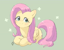 Size: 1024x815 | Tagged: safe, artist:yanamosuda, fluttershy, pegasus, pony, blushing, cute, female, folded wings, looking at you, mare, prone, shyabetes, simple background, smiling, solo, three quarter view, wings