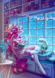 Size: 3721x5262 | Tagged: safe, artist:holivi, oc, oc only, oc:gadget, oc:precious metal, anthro, pegasus, unguligrade anthro, absurd resolution, anthro oc, book, bookshelf, bow, clothes, commission, dress, female, flower, hair bow, mare, plushie, snow, snowfall, stockings, thigh highs, window, zettai ryouiki