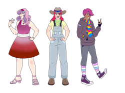 Size: 2732x2048 | Tagged: safe, artist:blacksky1113, artist:bublebee123, color edit, edit, apple bloom, scootaloo, sweetie belle, human, badge, bandana, belt, bisexual pride flag, boots, bracelet, clothes, collaboration, colored, converse, cowboy boots, cowboy hat, dark skin, dress, ear piercing, earring, eyebrow piercing, eyes closed, eyeshadow, feet, female, fingerless gloves, flower, gay pride flag, gloves, grin, hairband, hat, heart, high heels, hoodie, humanized, jeans, jewelry, lesbian pride flag, lipstick, makeup, male, nail polish, necklace, nose piercing, older, older apple bloom, older cmc, older scootaloo, older sweetie belle, open mouth, overalls, pants, piercing, pride, pride flag, rainbow socks, ring, rule 63, scarf, scooteroll, shirt, shoes, simple background, smiling, socks, striped socks, suspenders, t-shirt, trans boy, transgender, transgender pride flag, transparent background, wall of tags