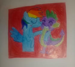 Size: 2448x2203 | Tagged: safe, rainbow dash, spike, blushing, female, heart, kiss on the cheek, kissing, male, rainbowspike, shipping, straight, traditional art