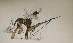 Size: 1159x689 | Tagged: safe, changeling, gun, headcanon, military, rifle, smoking, solo, weapon, world war i