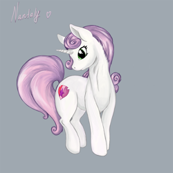 Size: 1280x1280 | Tagged: safe, artist:nantaly, sweetie belle, pony, unicorn, cutie mark, cutie mark crusaders, female, simple background, solo