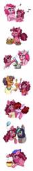 Size: 700x3567 | Tagged: safe, artist:celestial-rainstorm, pinkie pie, saffron masala, oc, oc:birthday bash, oc:cherry chimichanga, oc:diamond, pony, blueberry, food, muffin, offspring, older, pancakes, parent:cheese sandwich, parent:party favor, parent:pinkie pie, parent:roseluck, parents:cheesepie, pasta, pie, pot, spaghetti, spoon, strawberry, whipped cream