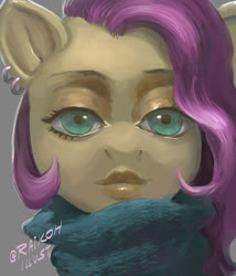 Size: 684x800 | Tagged: safe, artist:raikoh, fluttershy, creepy, creepy face, solo, uncanny valley