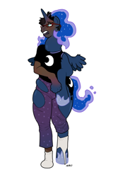 Size: 540x810 | Tagged: safe, artist:blackshirtboy, princess luna, human, pony, clothes, glasses, hoof shoes, human to pony, pants, ripping clothes, shirt, simple background, socks, solo, transformation, white background