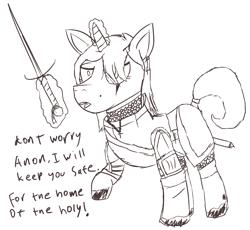 Size: 2656x2446 | Tagged: safe, artist:arrell, oc, unicorn, armor, cross, fantasy class, female, glowing horn, horn, knight, scar, sketch, sword, warrior, weapon