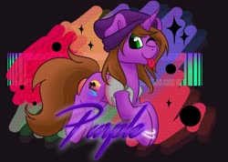 Size: 2070x1470 | Tagged: safe, artist:cadetredshirt, oc, oc:purple, pony, unicorn, accessories, badge, bracelet, clothes, digital art, glowstick, jewelry, jumping, long mane, long tail, looking at you, male, one eye closed, purple, solo, stallion, synthwave, tongue out, vaporwave, vest, wink